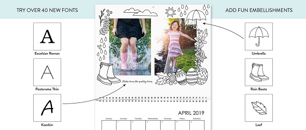 A Photo Calendar mom can color!