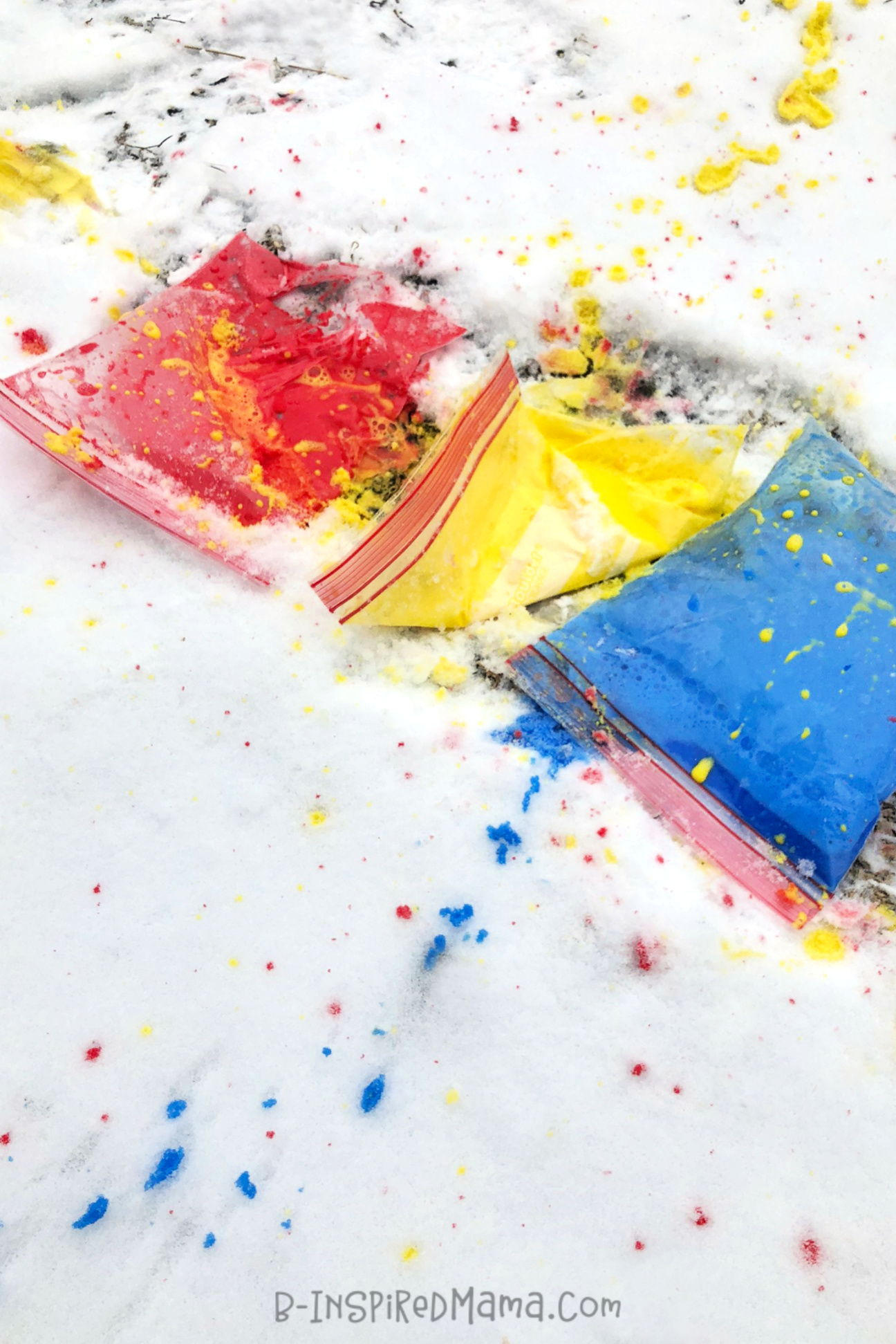 Stomp and Splash for Colorful, Active, Messy, and FUN Outdoor Toddler Art - on the Sidewalk or in the Snow!