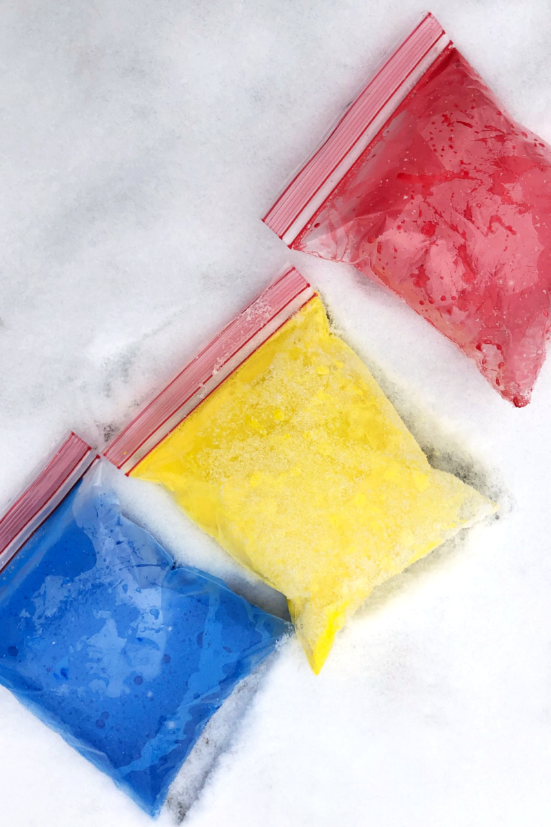 Stomp and Splash for Colorful, Active, and FUN Outdoor Toddler Art - on the Sidewalk or in the SNOW!