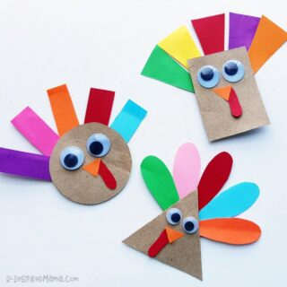 A super cute shape turkey craft for preschoolers - with a free template!