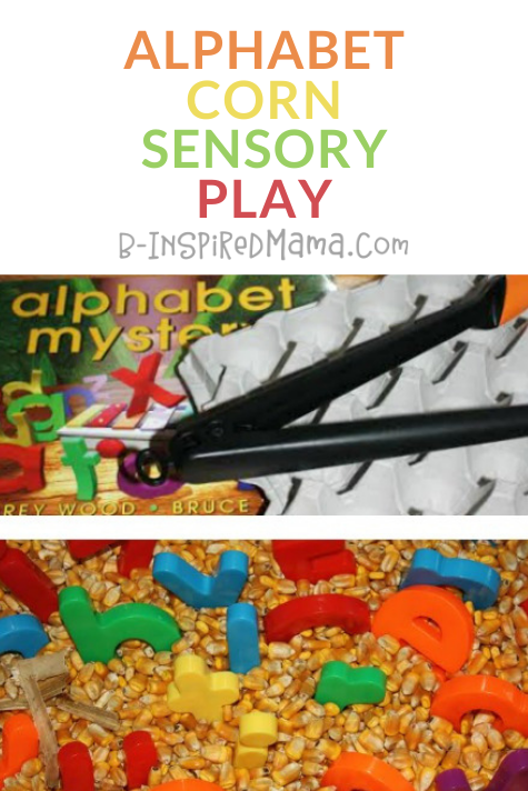 EASY Alphabet Corn Sensory Bin Play