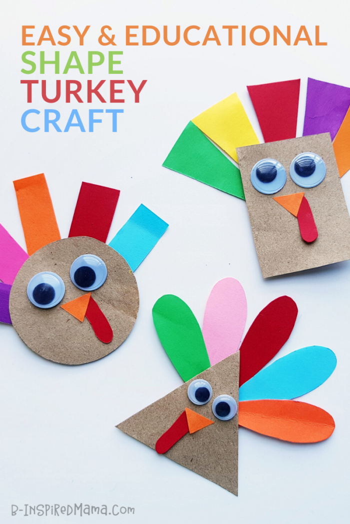Super Cute Shape Turkey Craft for Preschoolers - Perfect for Thanksgiving