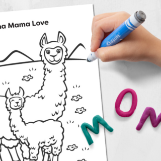Llama Mama Love Coloring Page
