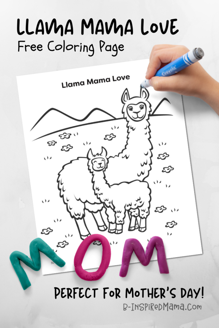 A FREE Llama Coloring Page that's Perfect for Mother's Day!