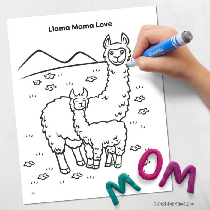 Free Llama Mama Love Coloring Page for Kids